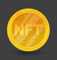 Gold coin nft non fungible token isolated on vector