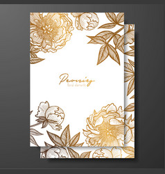 Gold wedding invitation with peonies buds and vector