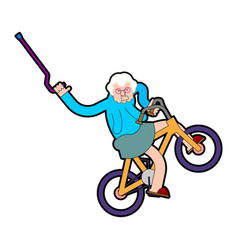 grandmother on bicycle grandma on bmx old lady vector image