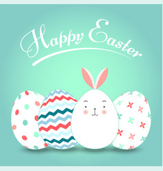 greating card with easter eggs and easter bunny on vector image