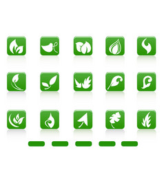green abstract leaves icon buttons vector image