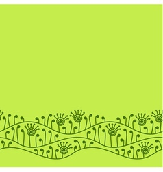Green seamless border with abstract plants vector