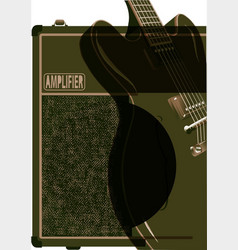 Guitar and amplifier abstract vector