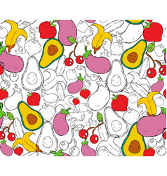hand drawn food seamless pattern for nutrition vector image