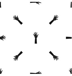 hand pattern seamless black vector image