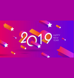 happy new year poster 2019 template with stars vector image