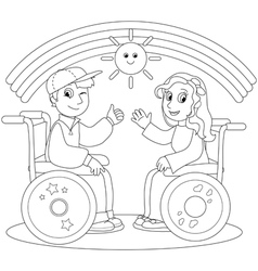 Happy teenagers on wheelchair vector image