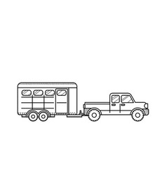 Horse trailer black and white vector