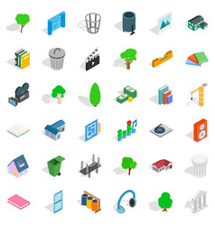 house thing icons set isometric style vector image