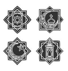 islamic ornate emblem set vector image