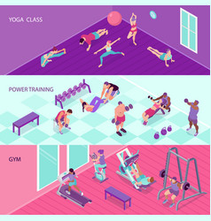 isometric fitness banners set vector image