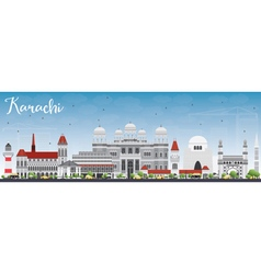 Karachi Skyline with Gray Landmarks vector image