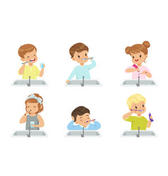 kids brushing teeth set cute boys and girls vector image