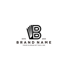 Letter b and book logo design vector