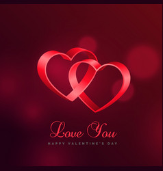 love background with two hearts connected with vector image