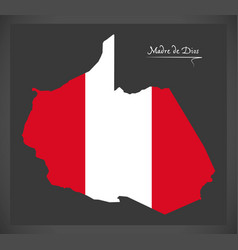Madre de dios map with peruvian national flag vector