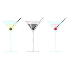 Martini glass with olives and cherry vector image