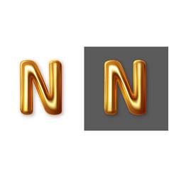 metallic gold alphabet letter symbol - n vector image