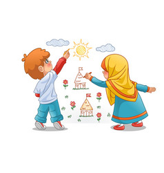 Muslim girls and boy draw landscapes on the walls vector
