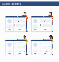 office concept business people with infographics vector image