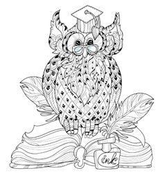 Old Owl on books- hand drawn doodle vector image