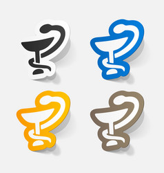 Paper sticker sign snake with a bowl vector