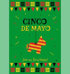Pinata cinco de mayo green party poster template vector