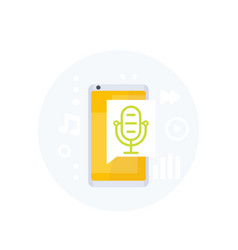 Podcast audio app icon with mike and phone vector