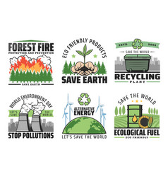 Protect and save earth enironment icons vector