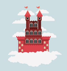 Red castle of fairy tales in sky surrounded by vector