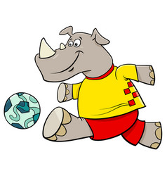 rhino football player cartoon character vector image