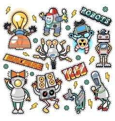 Robots and machines stickers badges patches vector