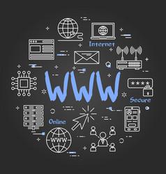 Round banner - www internet on black chalkboard vector
