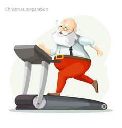 santa claus exercisers on a treadmill vector image