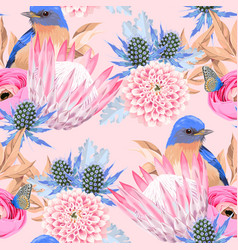 Seamless pattern with protea and birds vector