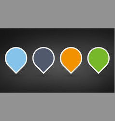 set of colorfull map pointers or pins with blank vector image