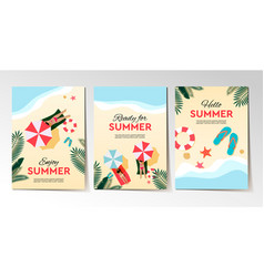 set summer holidays and tropical vacation vector image