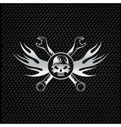 Silver skull in helmet with flames and wrenches vector