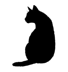 Sitting cat silhouette black feline logo vector