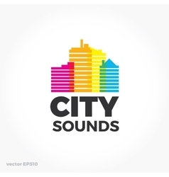 Sound equalizer symbol logo City urban sounds vector