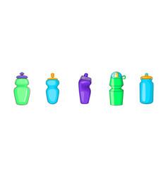 Sport bottle icon set cartoon style vector