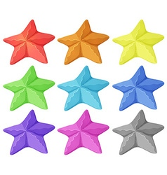 Starfish in nine different colors vector