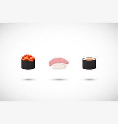 sushi flat icons set vector image