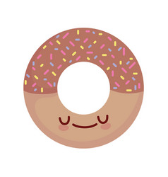 Sweet chocolate donut with chips cartoon food cute vector