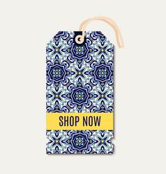 Tag with portuguese blue ornament azulejos vector