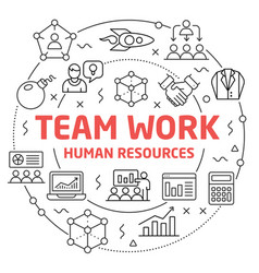 team work linear slide for the vector image