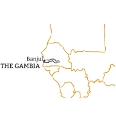 The Gambia hand-drawn sketch map vector