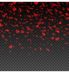 Transparent red falling hearts Valentines Day vector