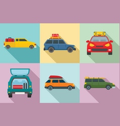Travel on car icons set flat style vector