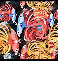 tropical floral pattern with butterflies vector image